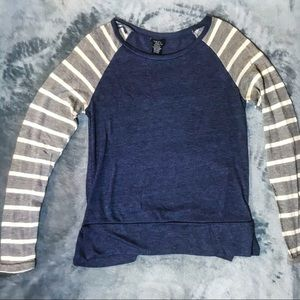 Long Sleeve Blue Shirt with Striped Sleeves